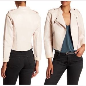 NWT BCBGENERATION Nude Vegan Leather Moto Jacket